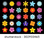 colorful blooming flowers icons ... | Shutterstock .eps vector #302933465