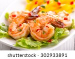 shrimps with mango salad | Shutterstock . vector #302933891