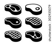 steak icons set. vector | Shutterstock .eps vector #302935079