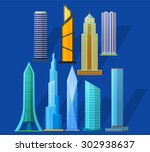 skyscrapers icons set in... | Shutterstock .eps vector #302938637