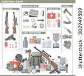 survival and emergency gear | Shutterstock .eps vector #302949509
