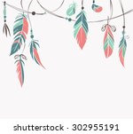 vintage hand drawn feathers and ...