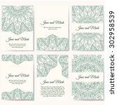 set of wedding invitations.... | Shutterstock .eps vector #302958539