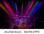 drum kit on stage in the...   Shutterstock . vector #302961995
