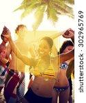 copy space frame summer... | Shutterstock . vector #302965769