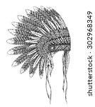 native american indian...   Shutterstock .eps vector #302968349