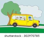 illustration of a school bus... | Shutterstock .eps vector #302970785