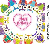 happy birthday  funny colorful... | Shutterstock .eps vector #302973707