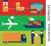 logistics concept technology... | Shutterstock .eps vector #302984141
