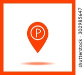 map pointer with car parking... | Shutterstock .eps vector #302985647
