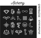 alchemy icon set. vector... | Shutterstock .eps vector #302986865