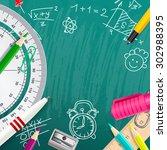 creative vector chalk... | Shutterstock .eps vector #302988395