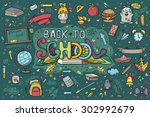 a large set of hand drawn... | Shutterstock .eps vector #302992679