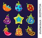 set colorful fantasy fruits ...