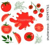 set of fresh healthy red... | Shutterstock .eps vector #302997761