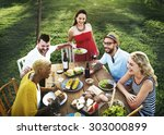 diverse people party... | Shutterstock . vector #303000899