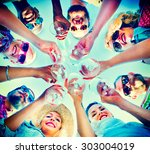 beach cheers celebration... | Shutterstock . vector #303004019