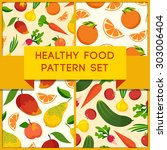 healthy food pattern set. fruit ... | Shutterstock .eps vector #303006404