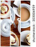 Small photo of Triptych collage of traditional English afternoon tea of scones with clotted cream and jam, along with a cup of hot tea.