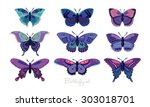 set of butterflies decorative...