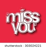 miss you text made of 3d vector ...