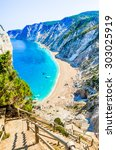 Stock photo famous platia ammos beach in kefalonia island greece the beach was affected by the earthquake in 303025919
