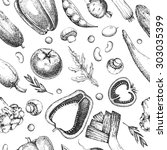 seamless vector vintage pattern ... | Shutterstock .eps vector #303035399