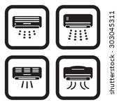 air conditioner icon in four... | Shutterstock .eps vector #303045311
