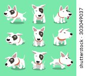 cartoon character bull terrier... | Shutterstock .eps vector #303049037