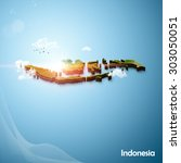 realistic 3d map of indonesia | Shutterstock . vector #303050051