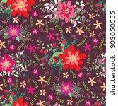 seamless floral pattern on dark ...   Shutterstock .eps vector #303050555
