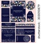 wedding card invitation suite...   Shutterstock .eps vector #303050879