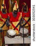 Small photo of ALNWICK, NORTHUMBERLAND, ENGLAND. AUGUST 01. 2015. Drummers of Ghanaian Dance Ensemble, Nkrabea, perform in public, Alnwick International Music Festival. August 01, 2015, Alnwick, Nth/land, England.