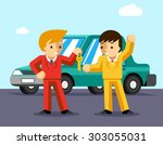 buying car. man gets keys to... | Shutterstock .eps vector #303055031