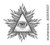 all seeing eye pyramid symbol... | Shutterstock .eps vector #303055037