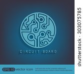 circuit board sign icon.... | Shutterstock .eps vector #303075785