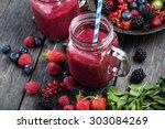 summer berries smoothie in... | Shutterstock . vector #303084269
