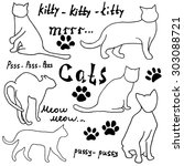 hand drawn sketch cats... | Shutterstock .eps vector #303088721