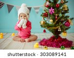 Baby With Christmas Background...
