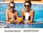 happy girlfriend with a drink... | Shutterstock . vector #303095549