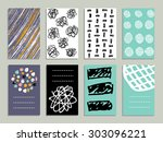 set of 8 creative cards with... | Shutterstock .eps vector #303096221