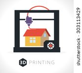 3d printer icon. illustration...