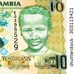 Small photo of 10 Gambian dalasi bank note. Gambian dalasi is the national currency of Gambia