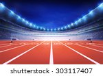 athletics stadium with race... | Shutterstock . vector #303117407