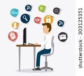 customer service design  vector ...   Shutterstock .eps vector #303125351