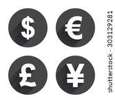 dollar  euro  pound and yen...   Shutterstock .eps vector #303129281