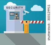 security guard with closed... | Shutterstock .eps vector #303129911