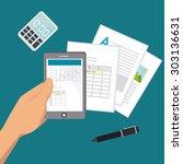 spreadsheet digital design ... | Shutterstock .eps vector #303136631