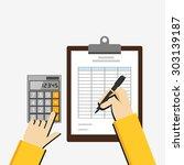 flat illustration of tax... | Shutterstock .eps vector #303139187