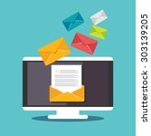 Stock vector email illustration sending or receiving email concept illustration flat design email marketing 303139205